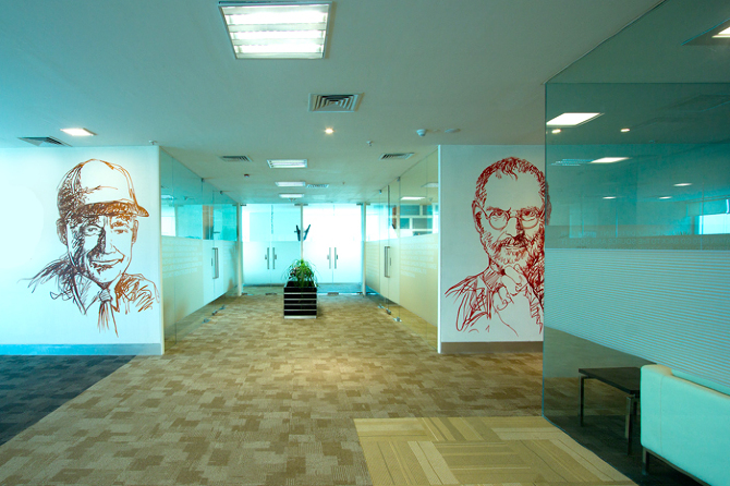 Office Interior Graphic Design By Wall Future Group Illustration Jayesh  Sivan Office Wall Graphics Installation.